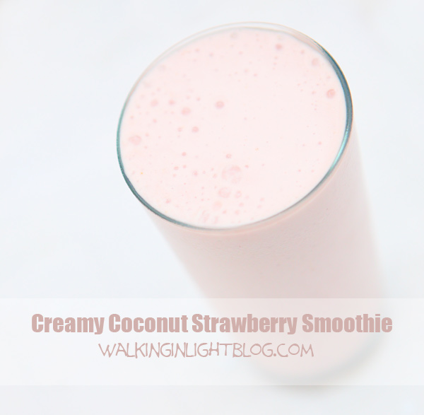 Creamy Coconut Strawberry Smoothie (THM S)